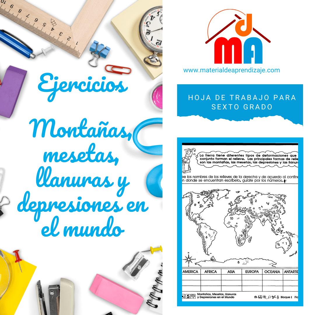 004 Montañas, mesetas, llanuras y depresiones en el mundo