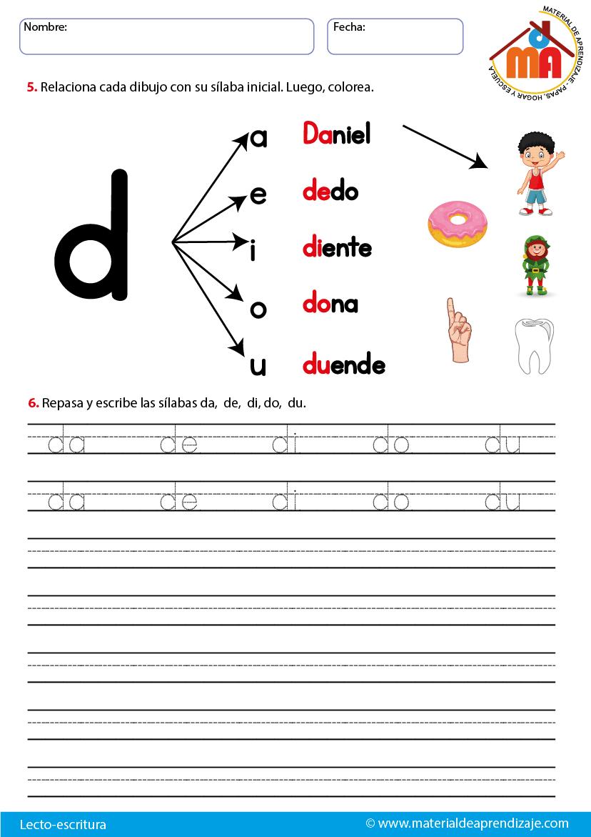 La Letra D Lecto Escritura Material De Aprendizaje