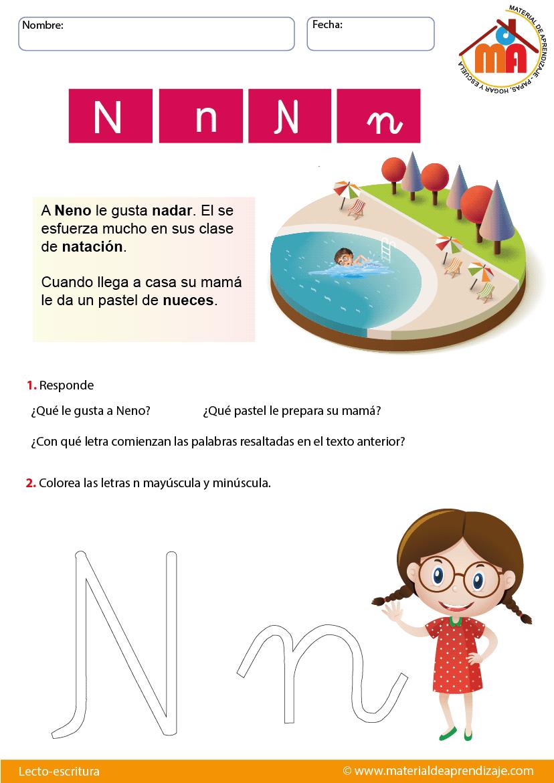 La Letra N Lecto Escritura Material De Aprendizaje
